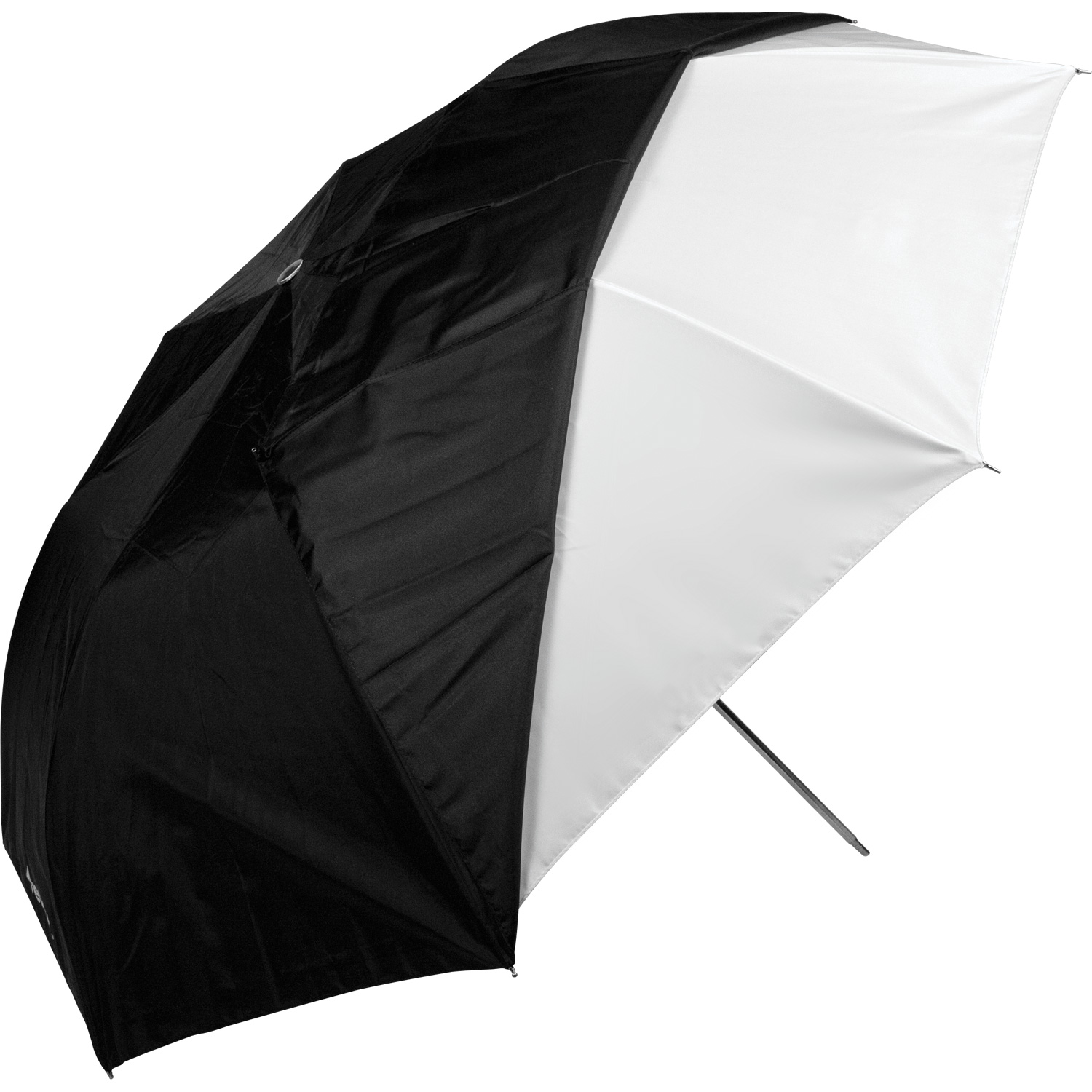 43-in. White Satin Collapsible Umbrella with Removable Black Cover