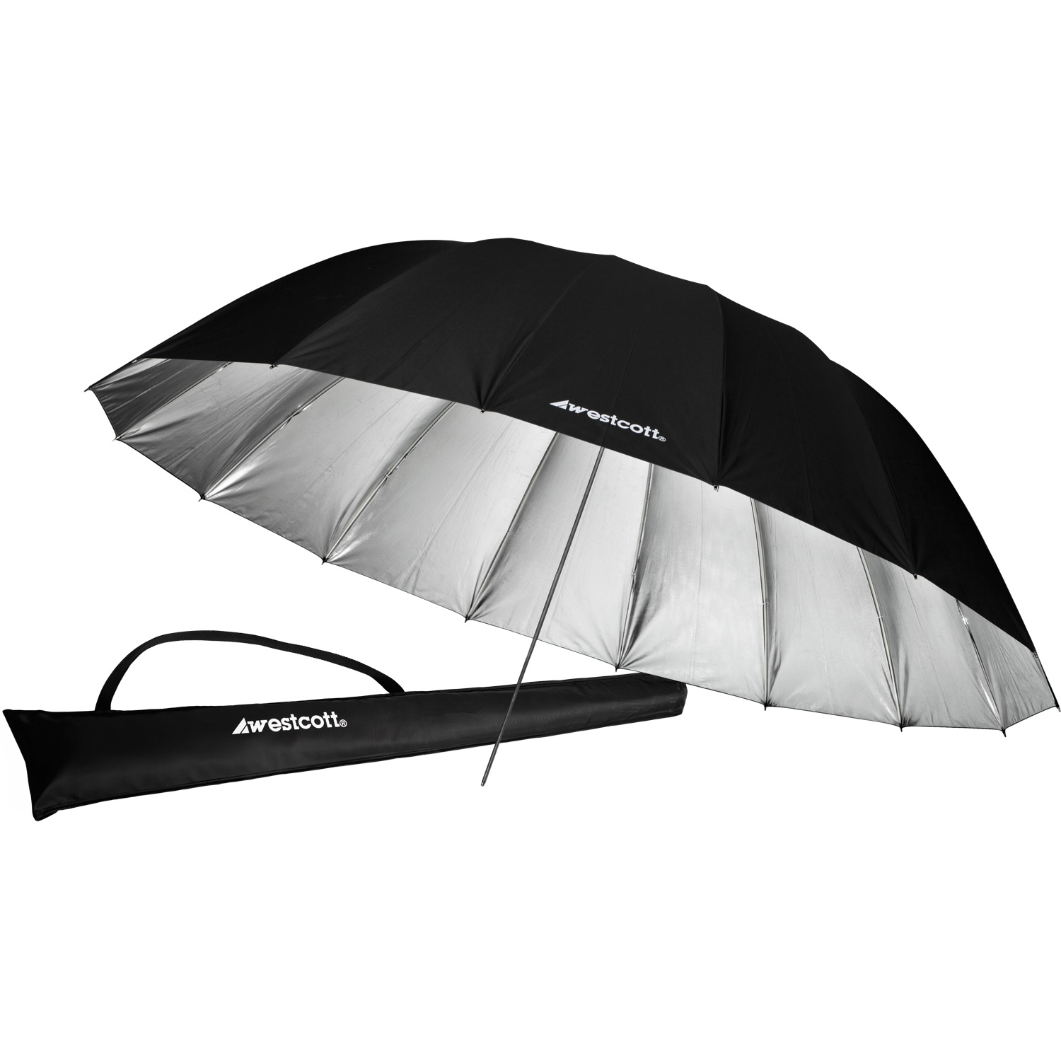 7' Silver/Black Parabolic Umbrella
