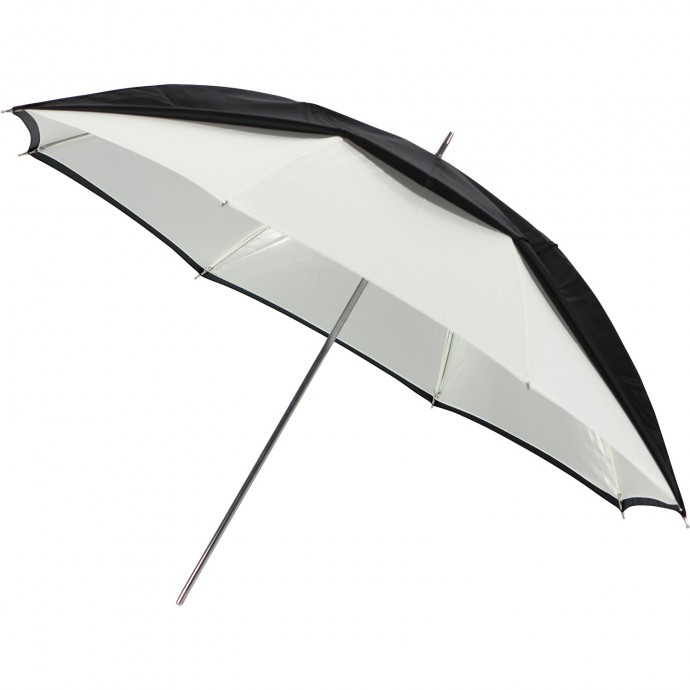 "32"" White Satin Umbrella with Removable Black Cover"