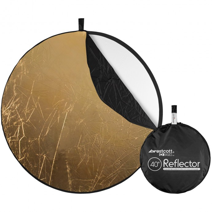 Basics 40-inch 5-in-1 Reflector with Gold, Silver, White, Black, and Diffusion Surfaces