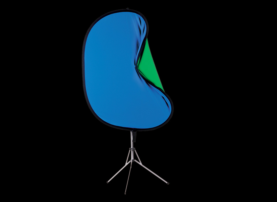 Chroma-Key blue and green collapsible backdrop mounted to a stand