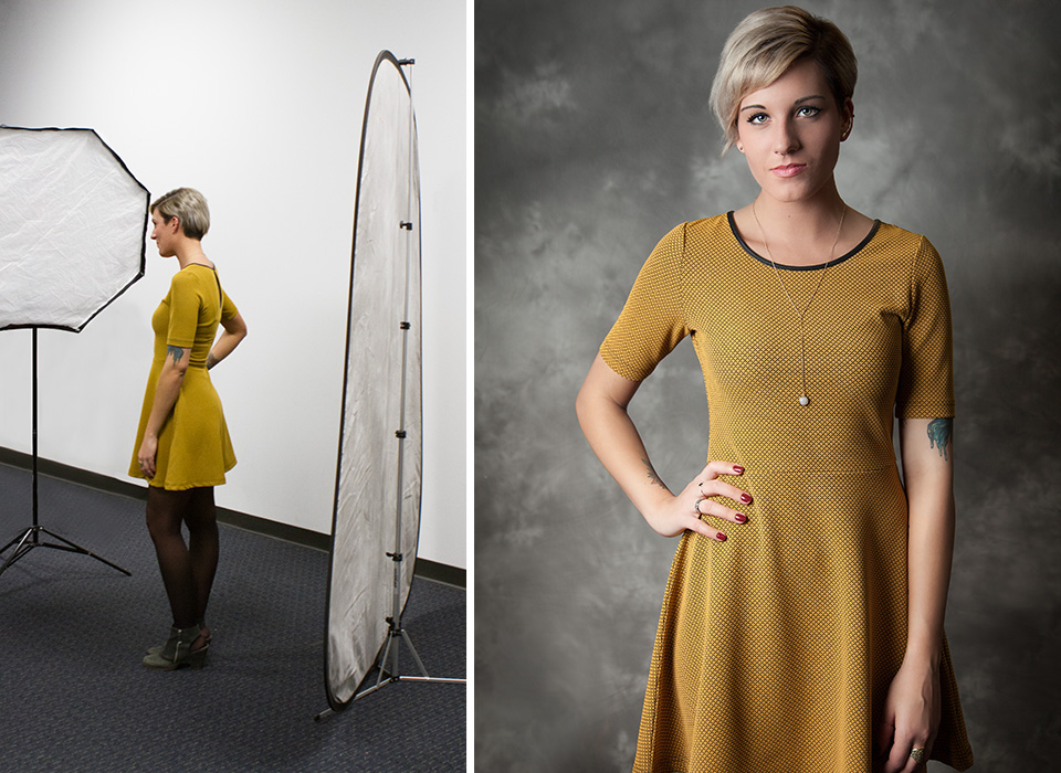 3/4-body portrait and photo shoot setup using collapsible backdrop with stand