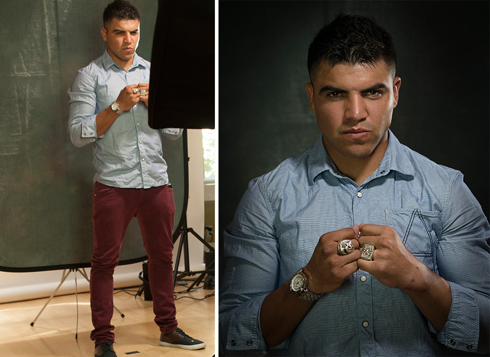 Portrait photo shoot on location with Hernan Rodriguez using collapsible backdrop with stand