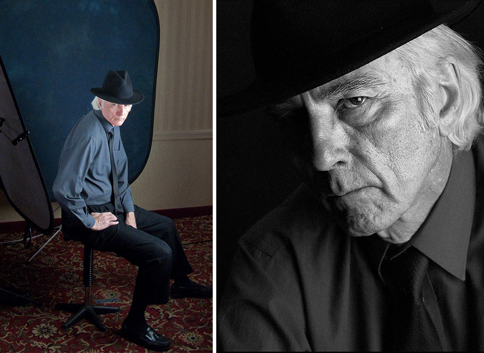 Portrait photo shoot on location with Rick Sammon using collapsible backdrop with stand