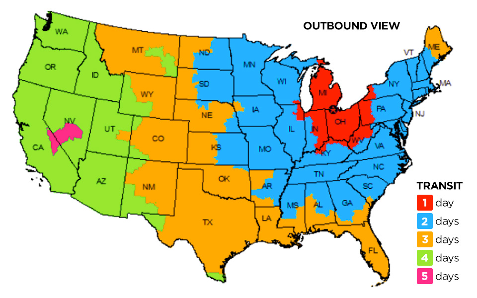 FedEx Ground Shipping Delivery Estimate Map