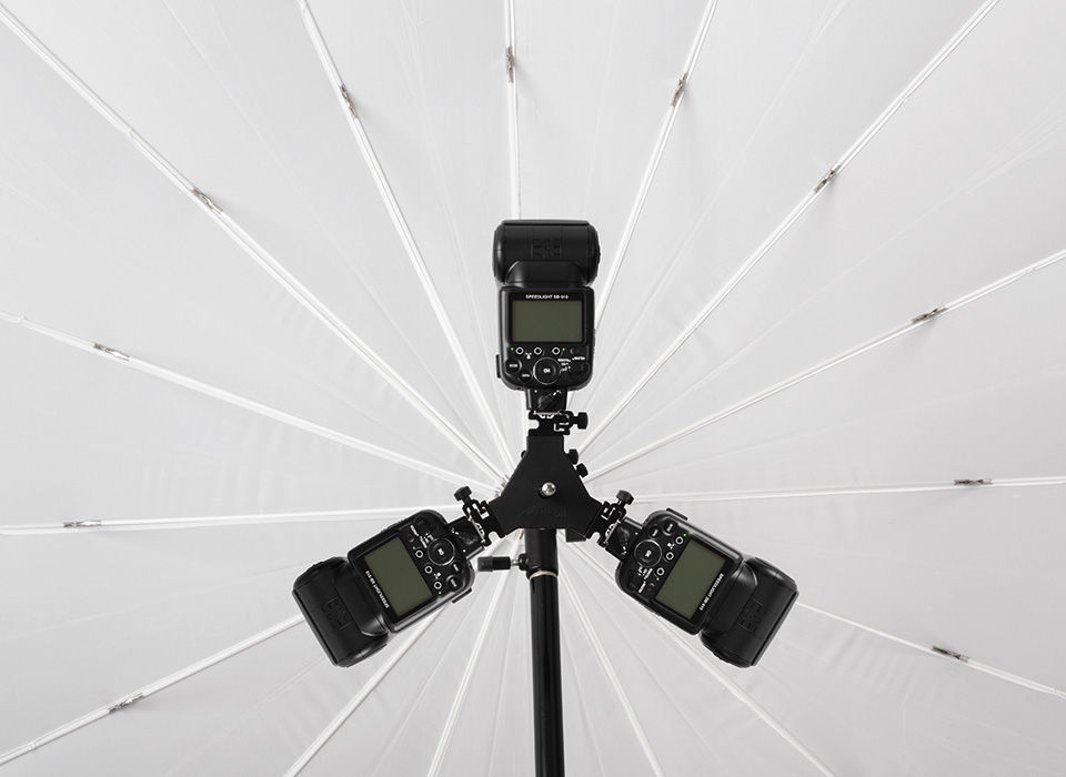 ProGrip with Triple Threat mounting 3 speedlights with diffusion umbrella