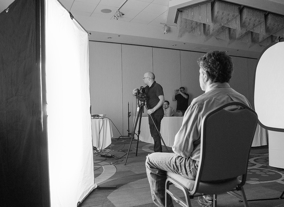 Behind the scenes video production using theC47 Booklight Kit with Booklight Kit Legs