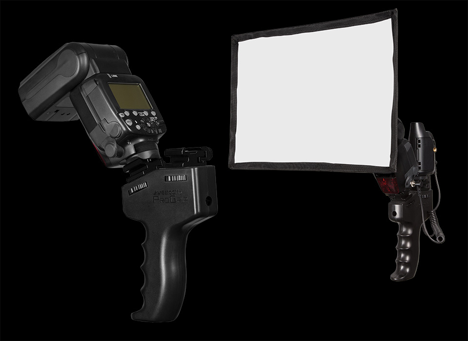 ProGrip with speedlight and Pocket Box softbox modifier