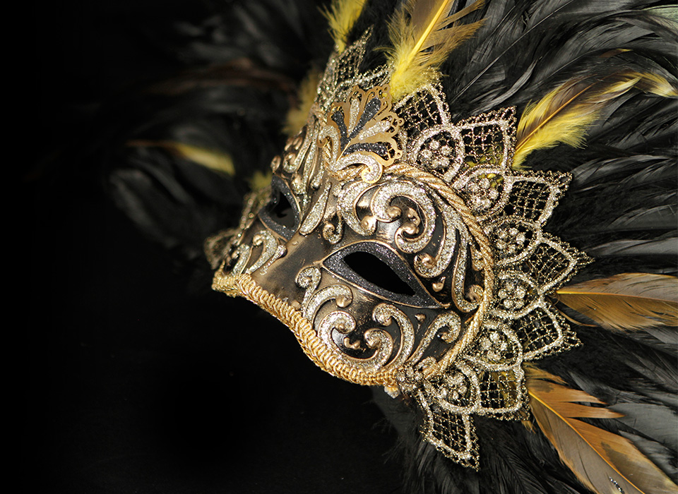 Elegant mask photographed using light tent