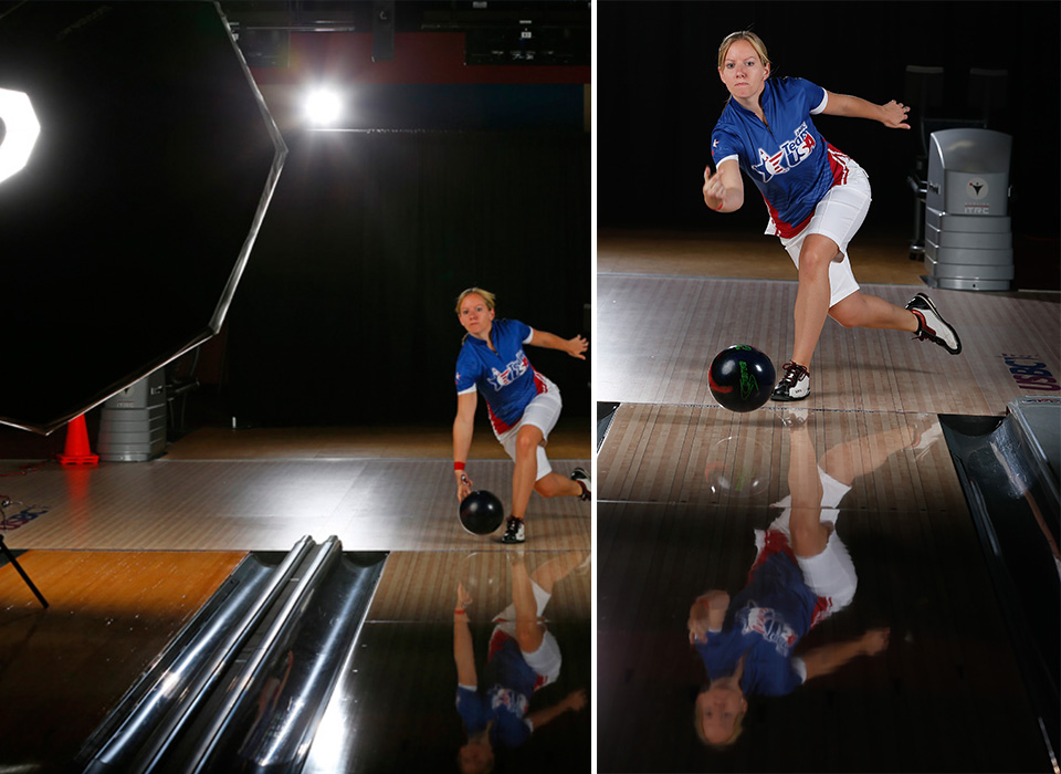 Octabank softbox used to light female Olympic bowling portrait