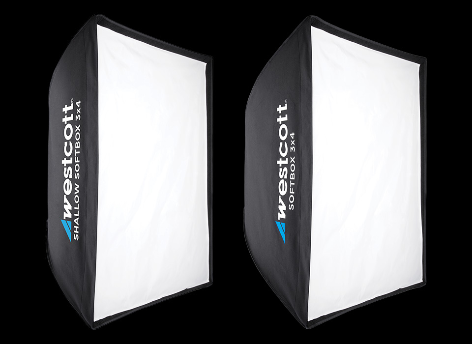 Comparison of shallow softbox and traditional depth softbox