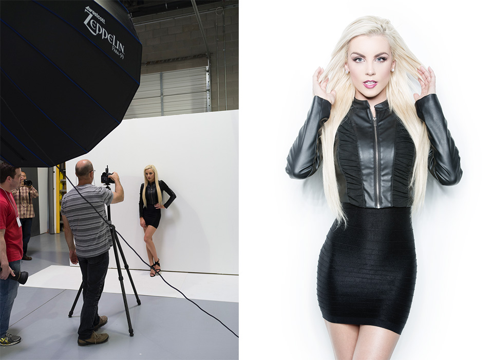 Fashion model portrait using Zeppelin deep parabolic softbox by Joel Grimes