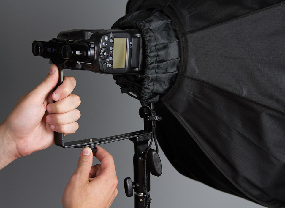 Two speedlights mounted to Rapid Box Duo