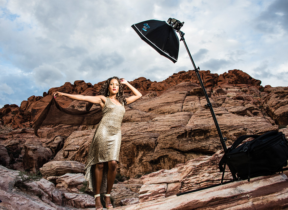 On location photo shoot using speedlights and Rapid Box Octa kit with deflector plate beauty dish