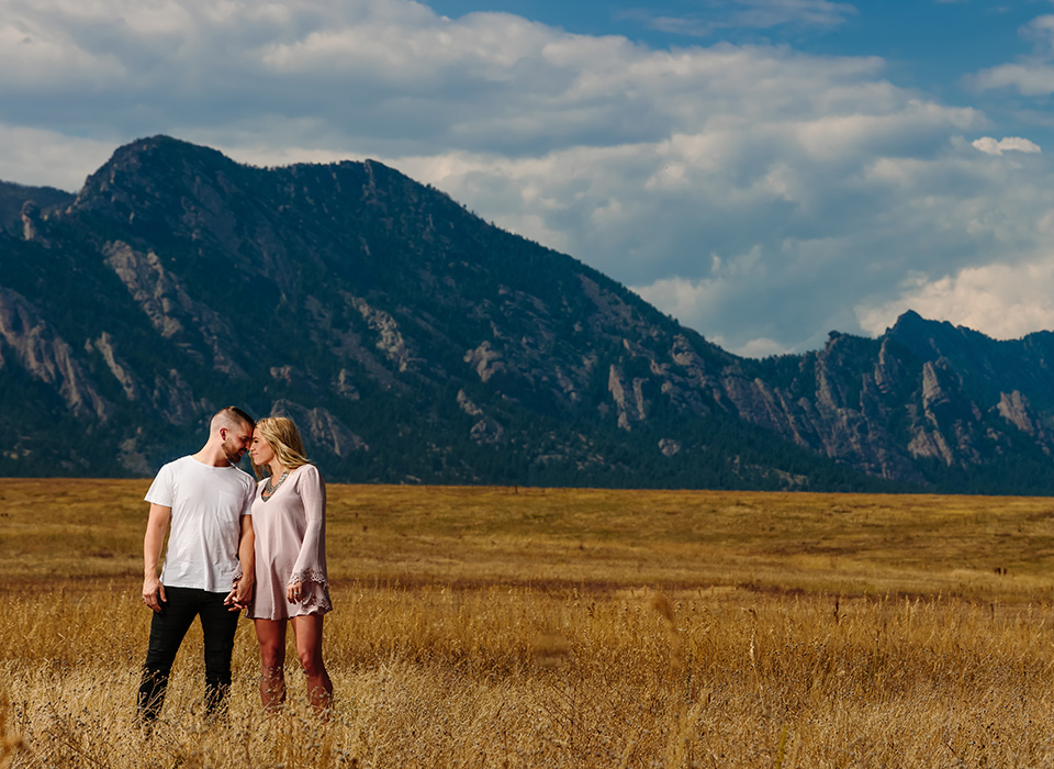 Engagement couple portrait in the mountains using a studio strobe and Rapid Box Strip XL light modifier