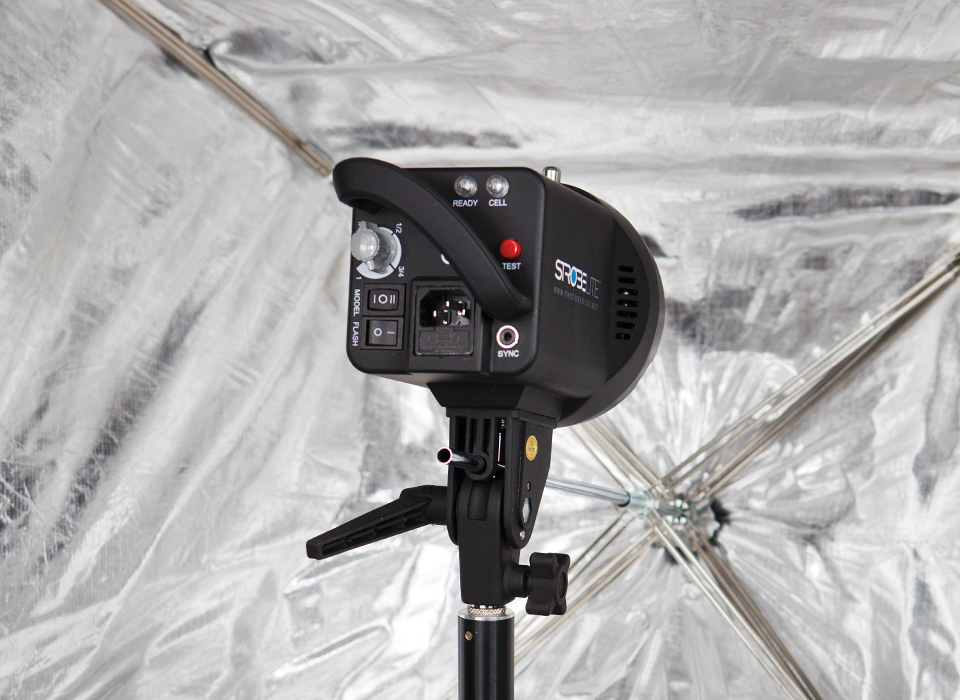 Apollo umbrella softbox with studio strobe light