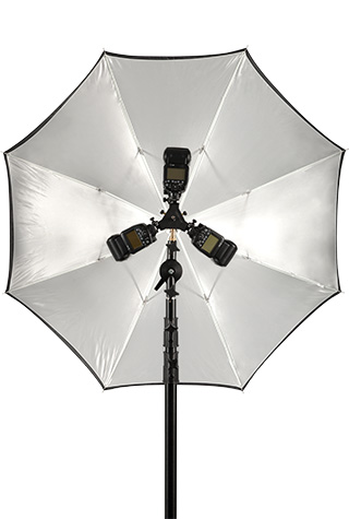 Triple Threat bracket with 3 speedlight flash units mounted to a light stand