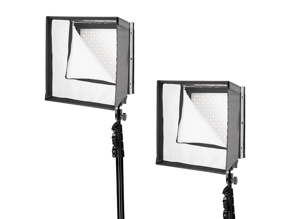 Flex LED and Scrim Jim Cine mounted using compact light stand