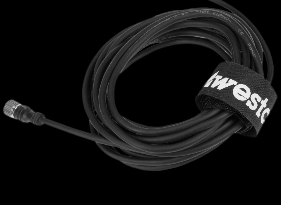 Cable wrap velcro tied around cable
