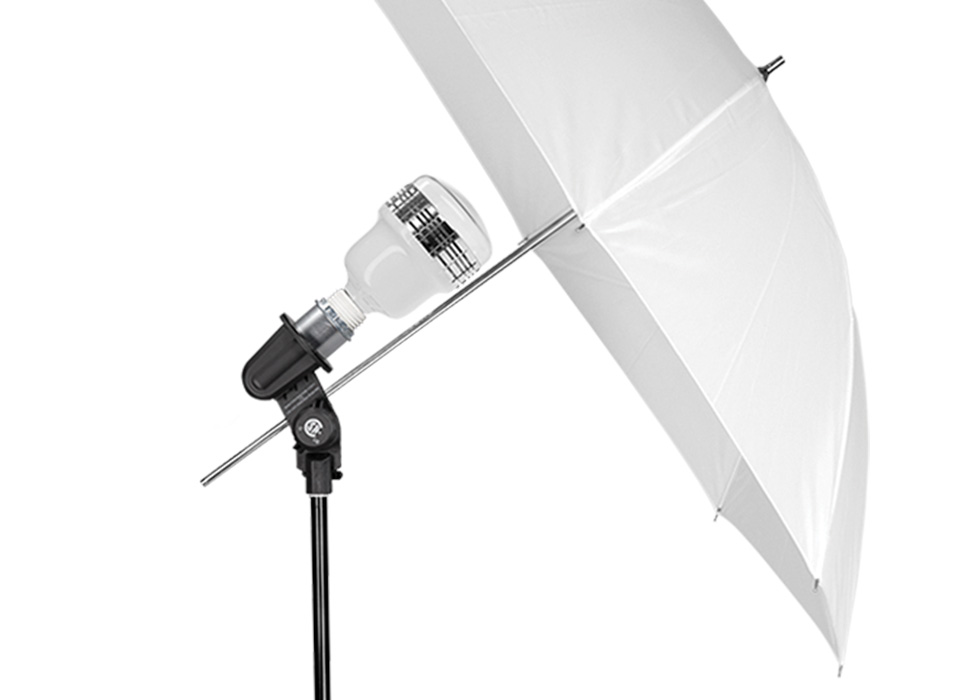 Diffusion Photo Umbrella Mounted to Continuous Light Fixture