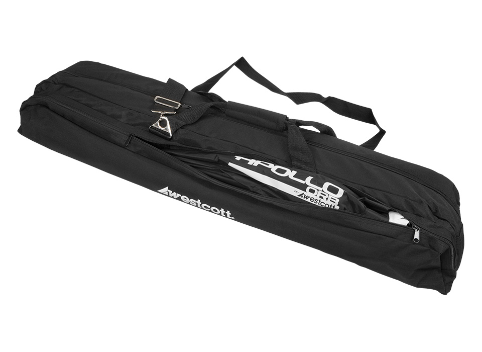Case filled with reflectors, reflector arm and other photography accessories