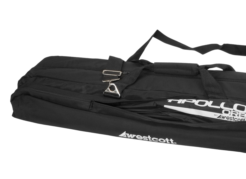 Soft sided gear storage bag with Apollo light modifier