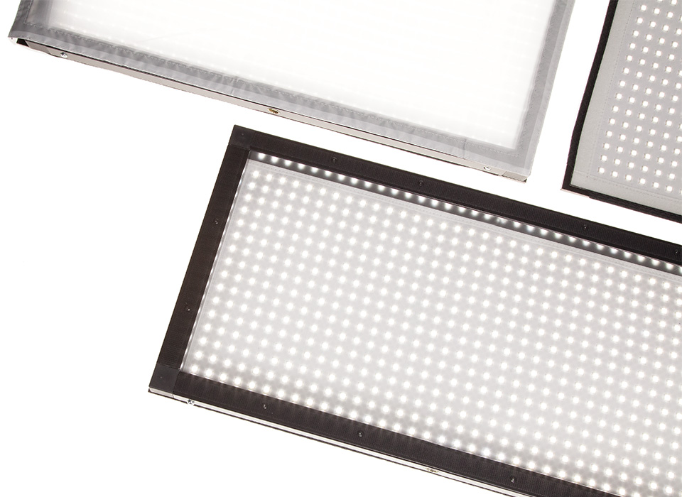Flex mats framed and diffused with Scrim Jim Cine system