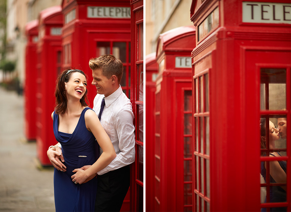 Engagement photos near a red phone booth in Europe using Ice Light