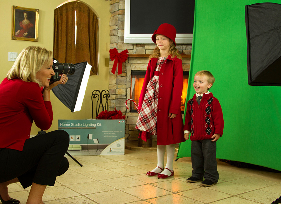 Children's photo shoot at home using uLite continuous lighting kit with fluorescent lamps
