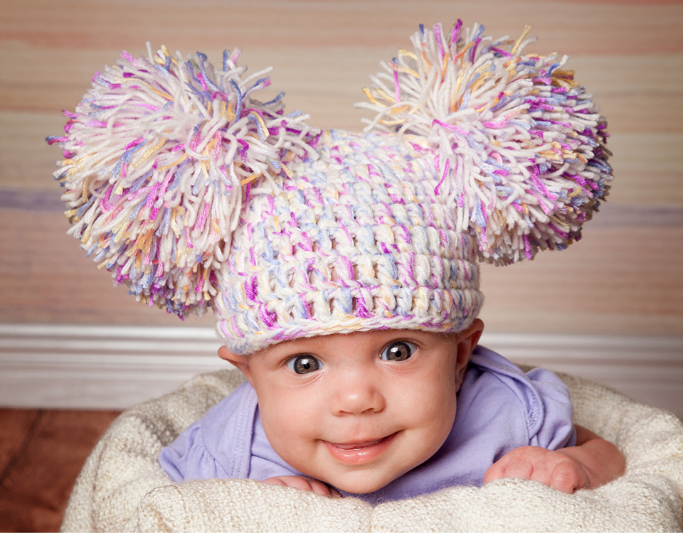 Pom Pom crochet hats for baby and newborn photography