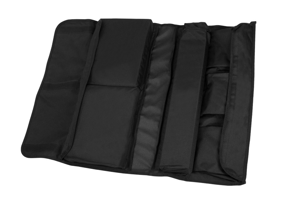 Rollable carry case with various compartments sealed closed