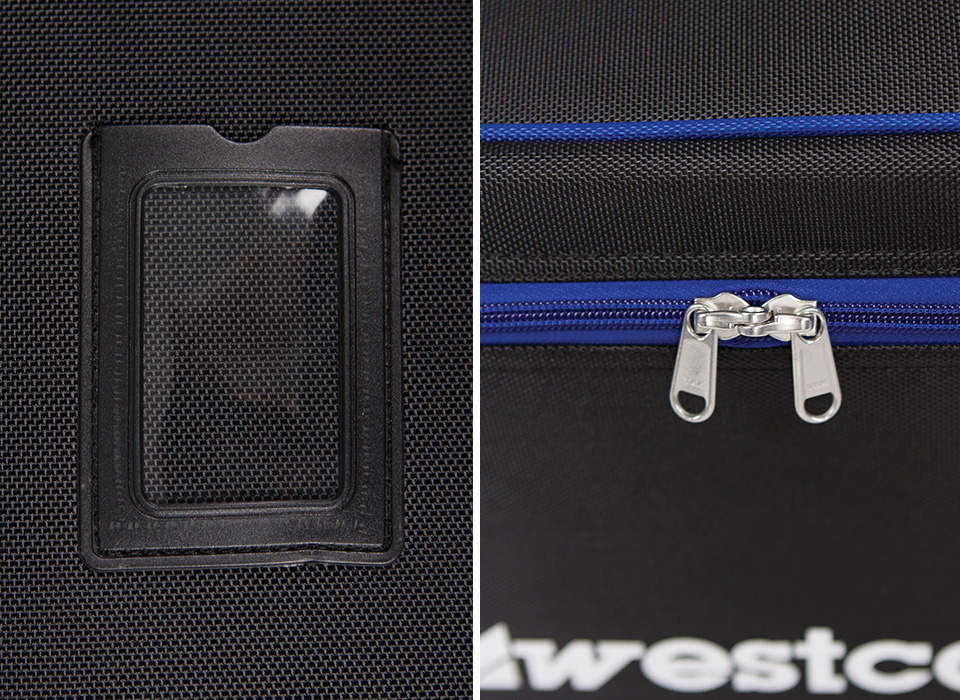 Wheeled carry case business card insert and premium zipper