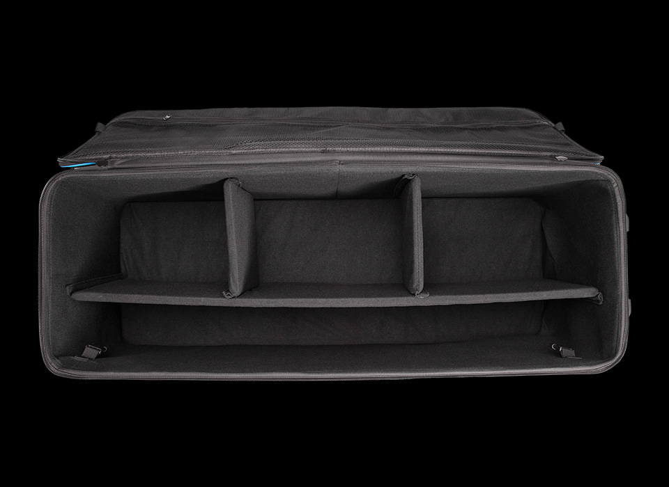 Flex soft wheeled carry case interior compartments