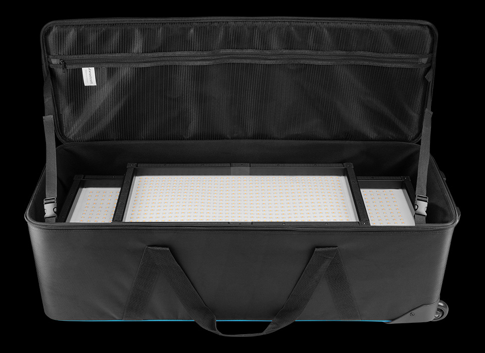 Flex soft wheeled carry case filled with Flex LED mats and lighting components