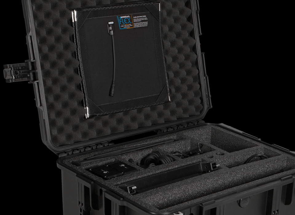 Flex hard case with LED mats, cords, and connectors