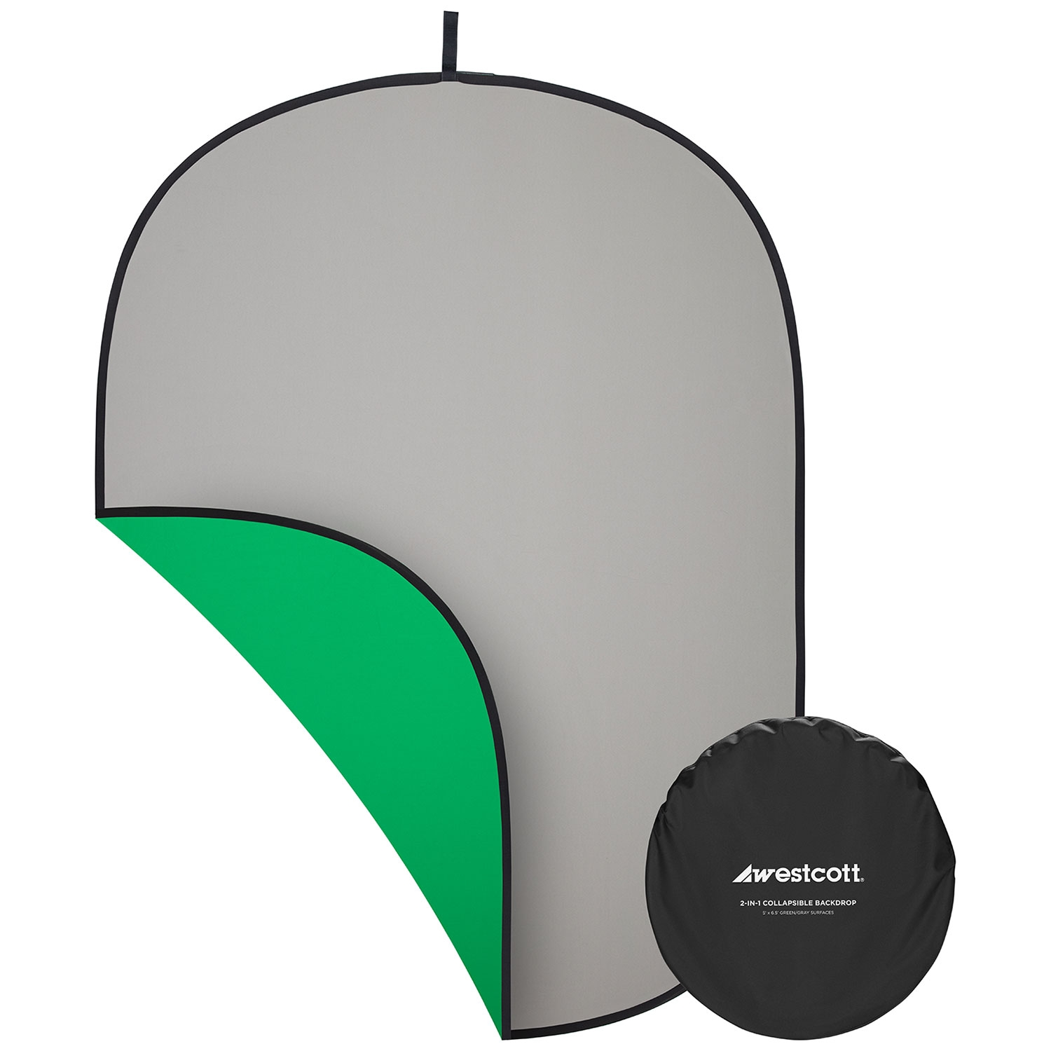 Collapsible 2-in-1 Gray & Green Screen Backdrop (5' x 6.5')