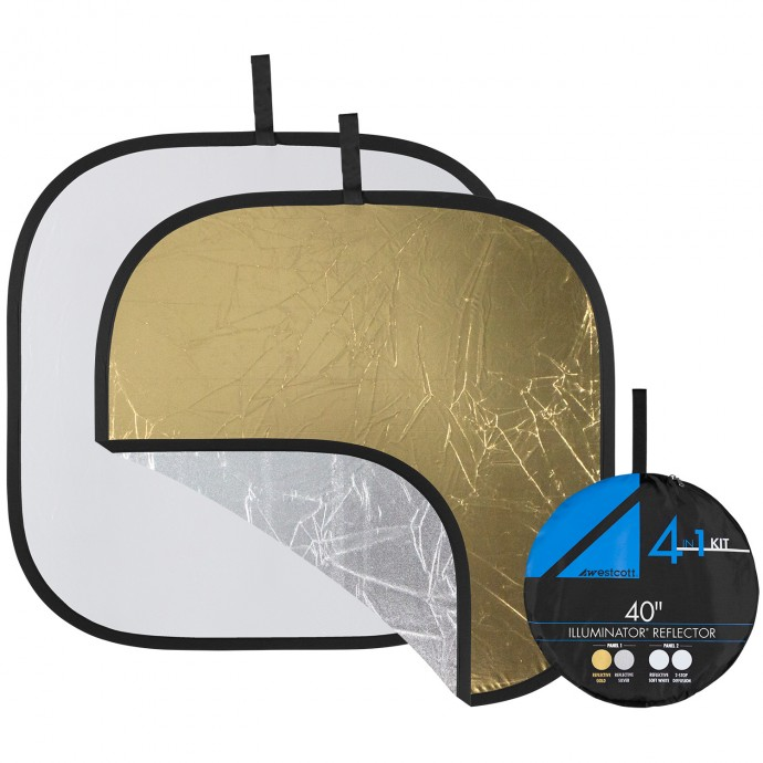 "Illuminator Collapsible 4-in-1 Gold/Silver Reflector Kit (40"")"