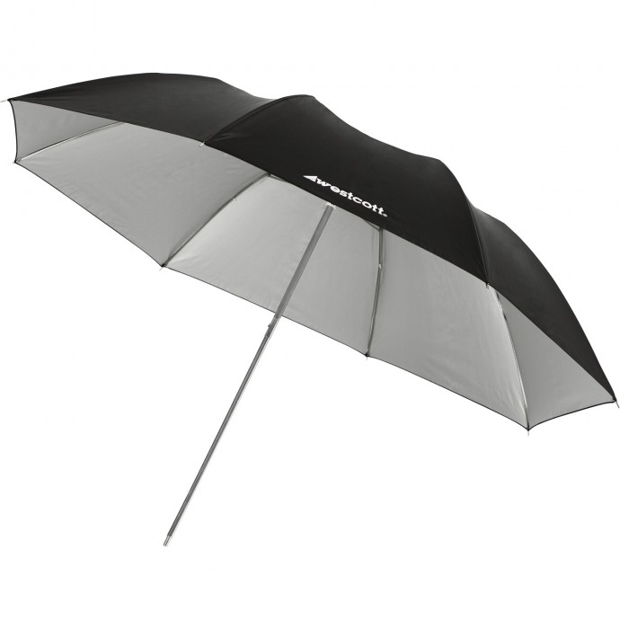 "#2002 - 43"" Soft Silver Collapsible Umbrella"