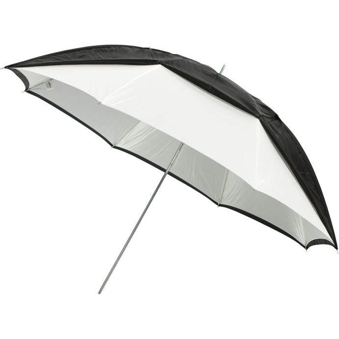 "#2016 - 45"" White Satin Umbrella with Removable Black Cover"