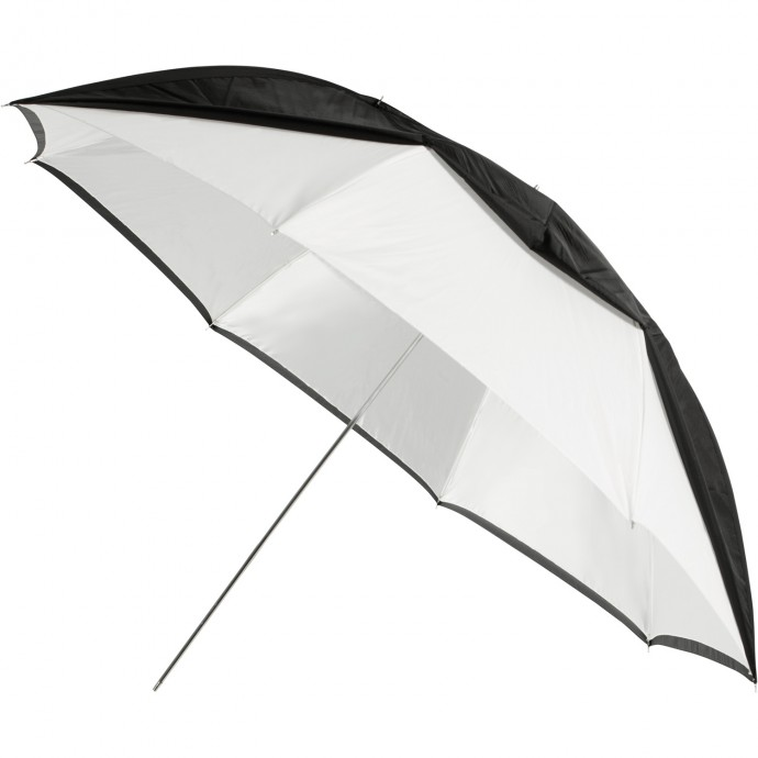 "#2021 - 60"" White Satin Umbrella with Removable Black Cover"