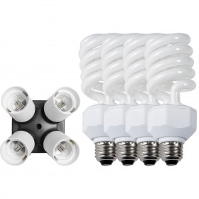 4-Socket Fluorescent Bulb Adapter with Bulbs (27-watt, 4-pack)