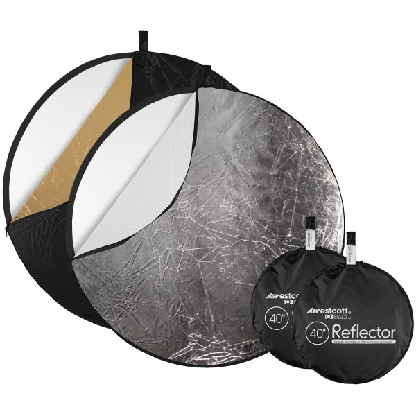 "Collapsible 5-in-1 Reflector with Gold Surface (2-pack, 40"")"