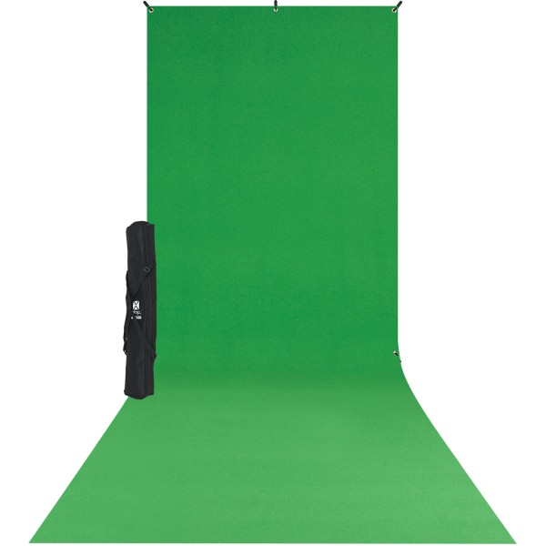 X-Drop Wrinkle-Resistant Backdrop Kit - Chroma-Key Green Sweep (5' x 12')
