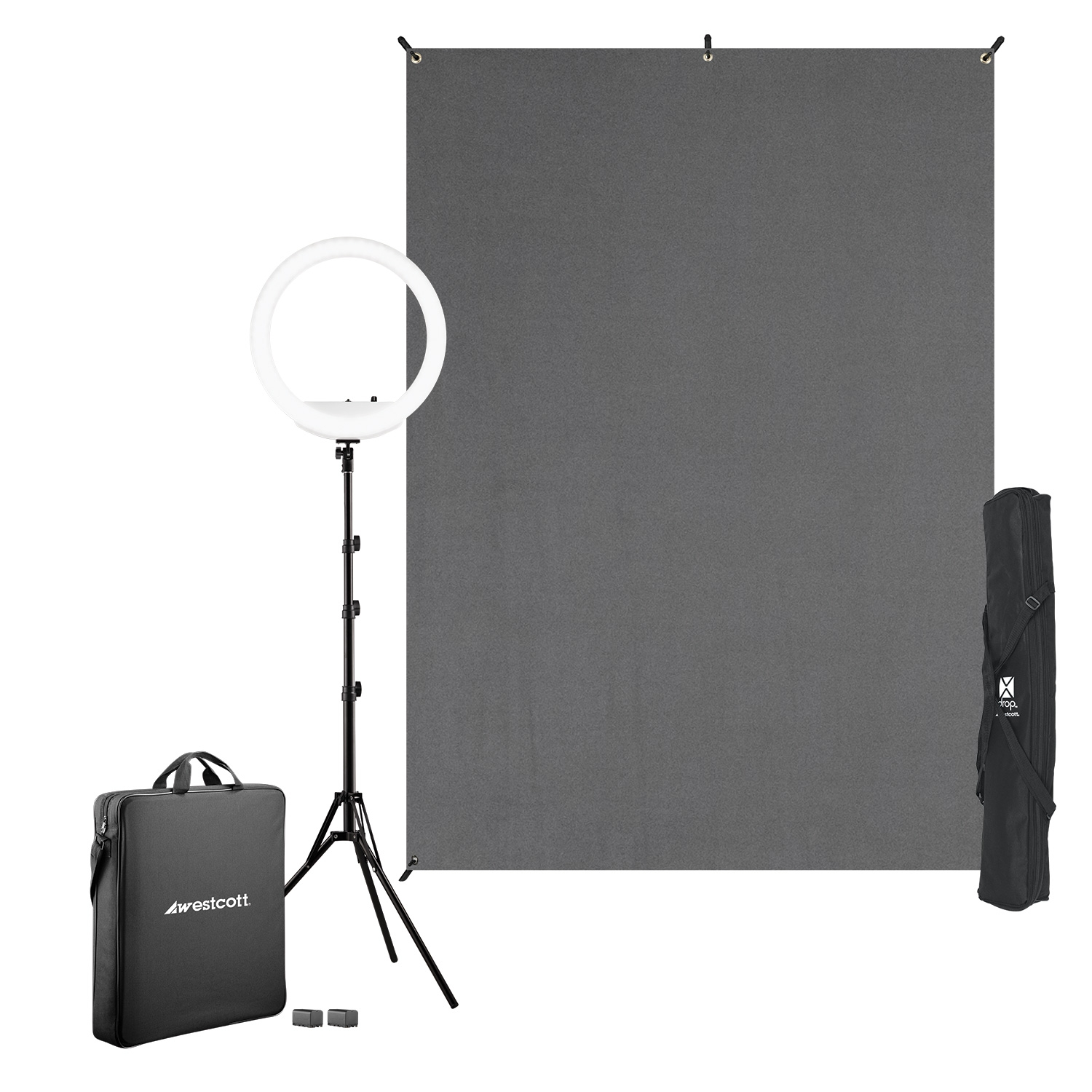 Ring Light Kit with X-Drop Backdrop & Stands (Gray)