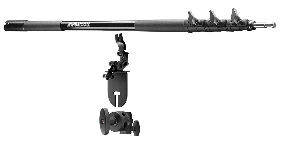 Boom Arm with Clamp mounted to a light stand