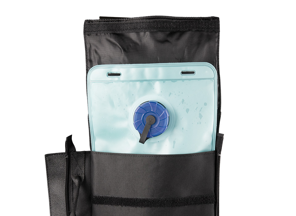 Refillable water weight bag for photographers and filmmakers