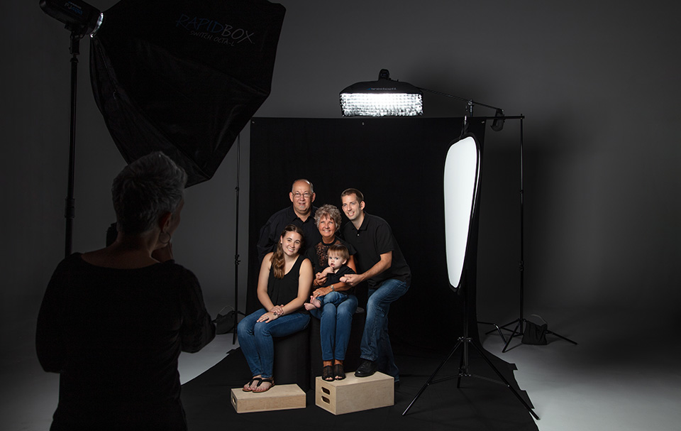Photography shoot using backdrop mounted using background support system