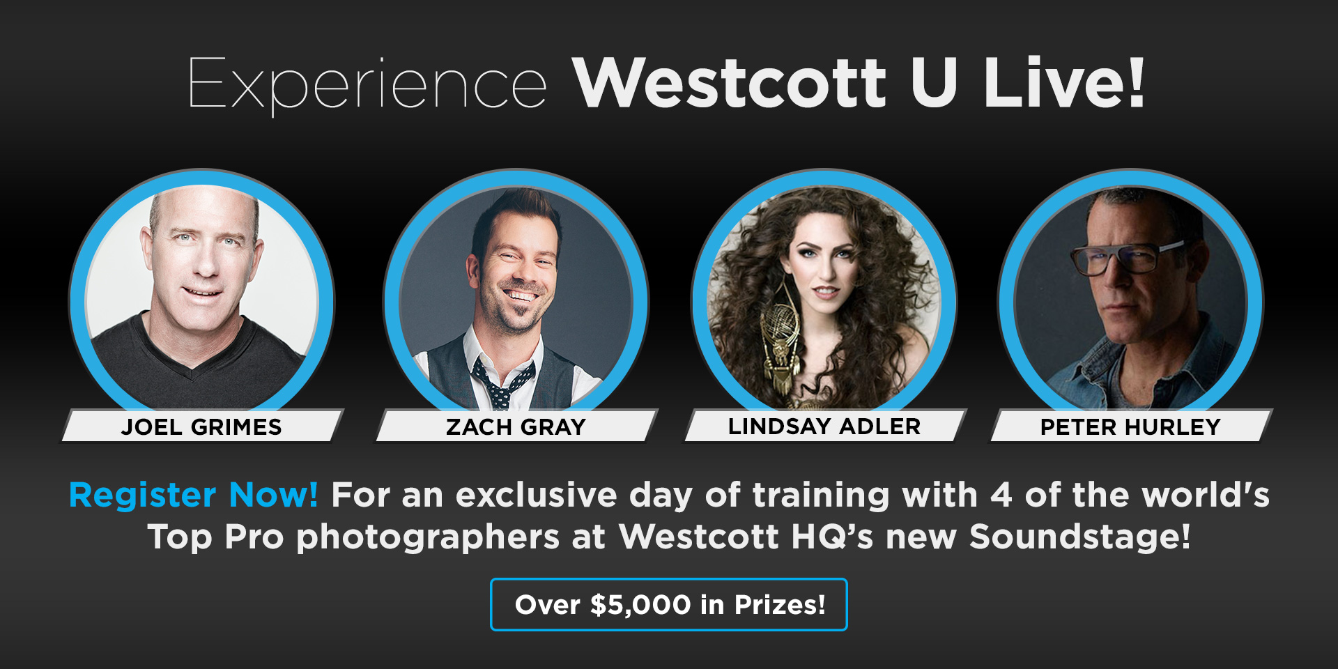 Exclusive live training with 4 Top Pro photographers at the new Westcott Soundstage