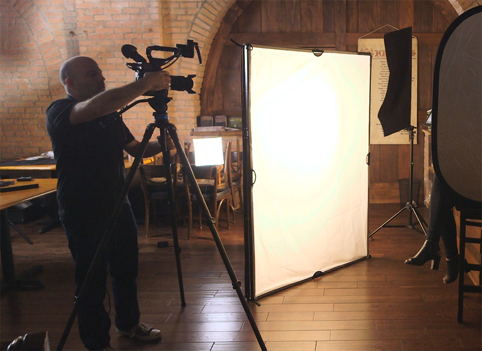 Narrative film production set using theC47 Book Light Kit