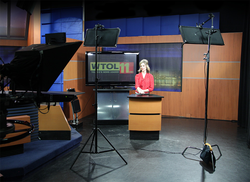 Scrim Jim Cine frames and Flex LED mats used to light broadcast news set